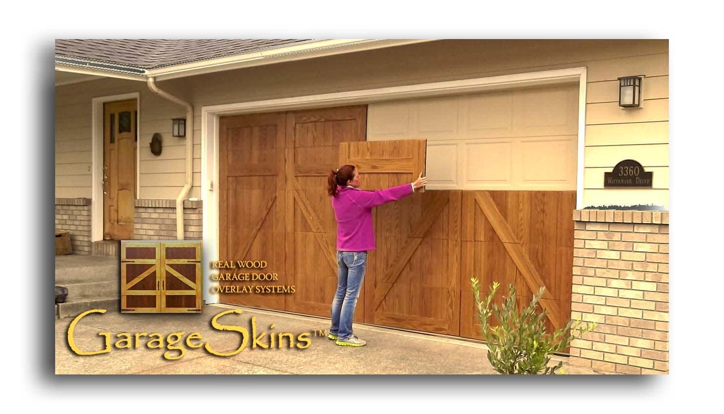 wood garage doorsGarageSkins real wood garage door overlays  Indiegogo