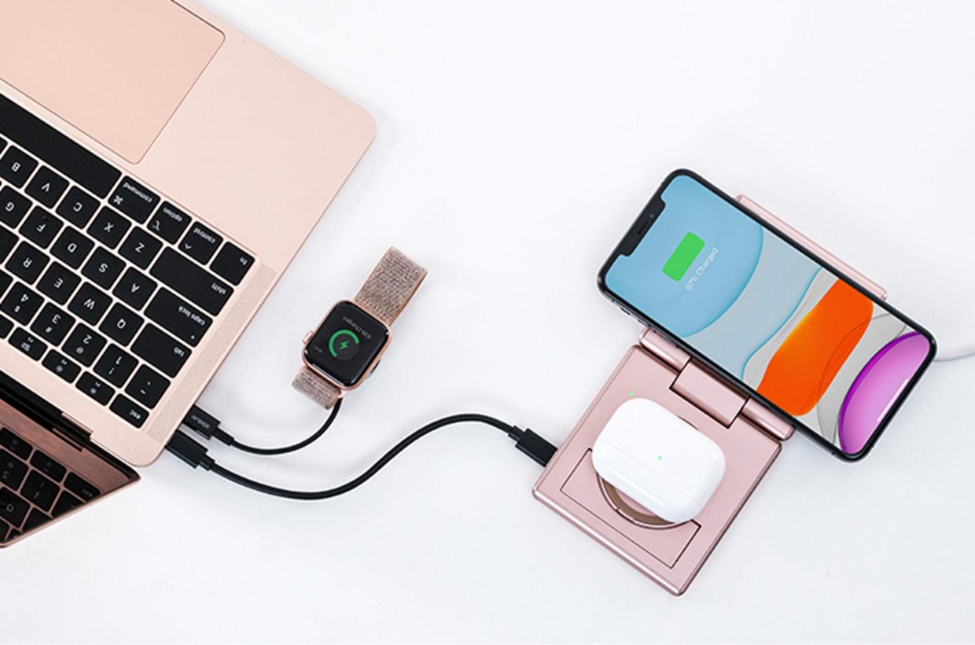 Qi15Wダブルワイヤレス充電にプラスしてUSB-C PD60Wパススルー充電機能を持ったワイヤレス充電器「Unravel 2」