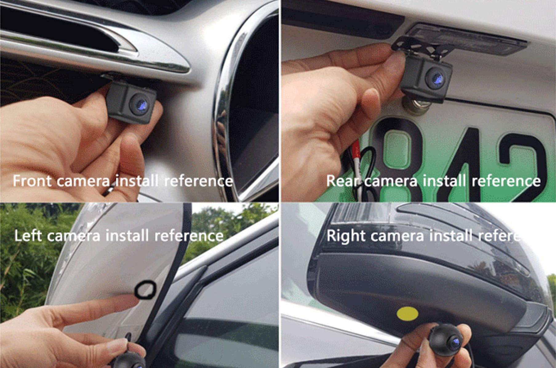 Autos View Front//Rear//Right//Left  Video 360 degree rotation Reversing Camera New